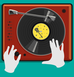 vinyl record and dj scratch vector image