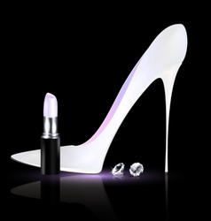 White shoe and lipstick vector