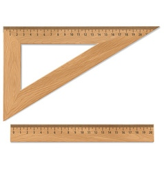 Wooden triangle and ruler vector