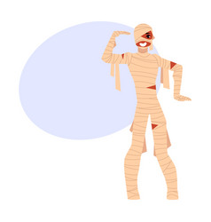 young man wrapped in bandages spooky mummy vector image vector image