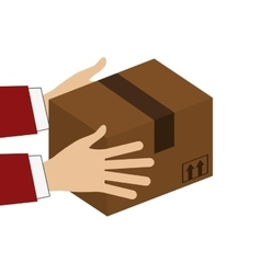 Hands holding cardboard box icon vector