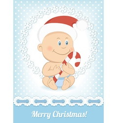 Funny christmas baby boy vector