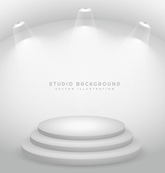 Studio lights on stage podium vector