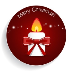 Christmas Greeting Card with candle and bow vector image