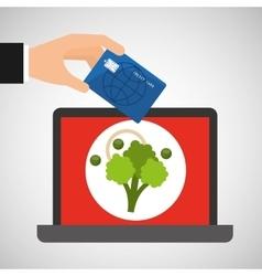 Shopping online concept order broccoli vector