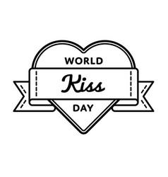 world kiss day greeting emblem vector image
