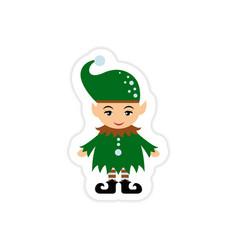 Paper sticker on white background santa elves vector