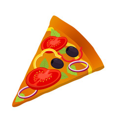 Slice of pizza vegetarian pizza fresh vegetables vector