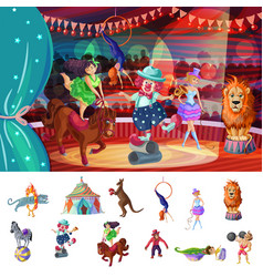 cartoon colorful traveling circus composition vector image