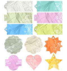 Twelve crumple labels vector