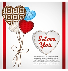 Love card with heartshaped balloons vector