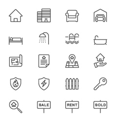 Real estate thin icons vector image