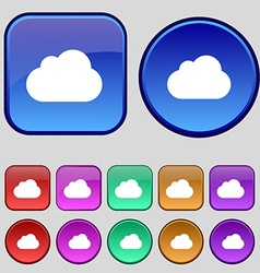 cloud icon sign A set of twelve vintage buttons vector image