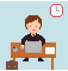 Pixel art illistration office businessman vector