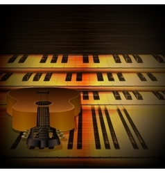 Musical background piano keys and guitar uno vector