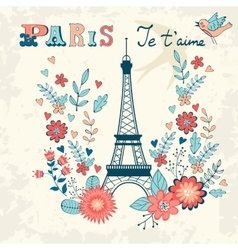Concept love card with eiffel tower and floral vector