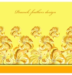 Yellow orange peacock feathers pattern background vector