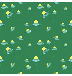 Seamless floral pattern on the green backdrop vector