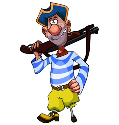 Cheerful cartoon legged pirate with weapon vector