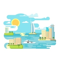 City beach design flat vector