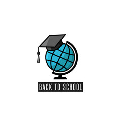Back to school logo globe and mortarboard vector