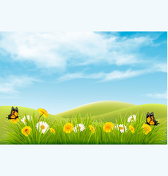 beautiful nature landscape background with vector image vector image