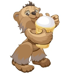 Brown bear holding white ice cream cone vector