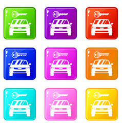 Car and key icons 9 set vector