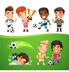 Cartoon soccer players and referee vector