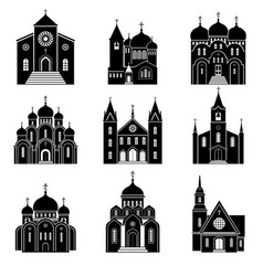 Church black silhouette icons vector