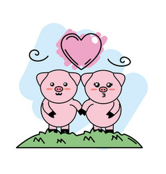 Cute couple of pigs animal in the mountain with vector