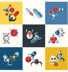 digital smart medical nano robots concept objects vector image vector image