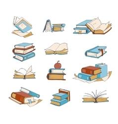 Doodle books hand drawn novel encyclopedia vector image vector image