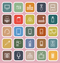 Gadget line flat icons on pink background vector