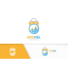 Graph and shop logo combination diagram vector