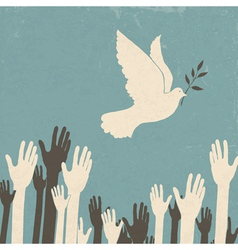 group of hands and dove of peace vector image