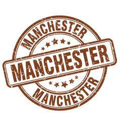 Manchester brown grunge round vintage rubber stamp vector