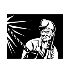 miner with jack drill front view vector image vector image