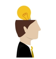 Open head with bulb light vector