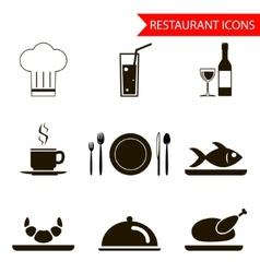 Restaurant sihouette icons set vector