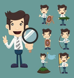 Set of businessman aimming target characters poses vector