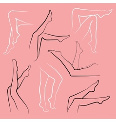 Set of silhouettes female legs vector image