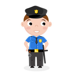 smiling little boy in policeman uniform vector image
