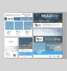social media posts set business templates vector image vector image
