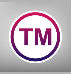 Trade mark sign purple gradient icon on vector