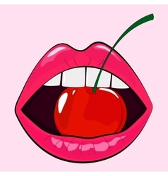Isolated sensual woman pink lips with cherry vector