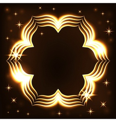 Gold frame light tracing effect flower vector