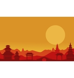 At sunset pavilion landscape of silhouettes vector