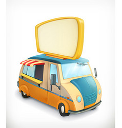 Car with banner food cart graphic element vector image