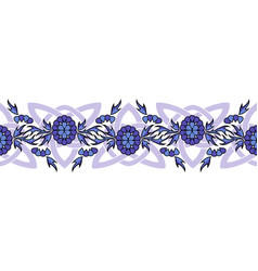seamless border with flowers and celtic knots vector image
